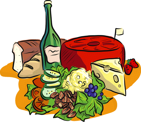 illustration of cheese, breads, wine and salad selection